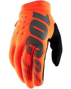100% Brisker Full Finger Gloves Orange/Black
