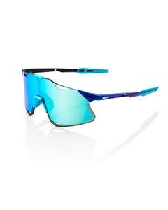 100% Hypercraft Sunglasses Metallic Blue with Blue Topaz Lens