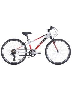 """Neo Kids Bike 24"""" 7-Speed Silver with Black Red Fade (2022)"""