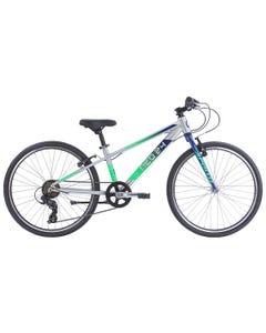 "Neo Kids Bike 24"" 7-Speed Silver with Navy Blue Green (2022)"