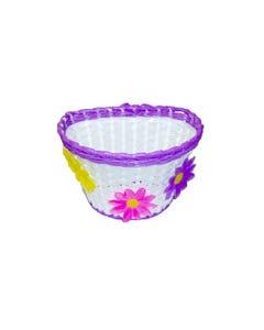 Kids Basket White/Purple Flowers