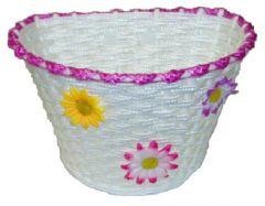 Front Flower Basket 12-16inch Bikes White/Pink