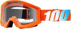100% Strata Goggles Clear Lens Neon Orange