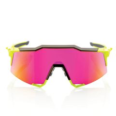 100% Speedcraft Purple Multilayer Mirror Lens Sunglasses Polished Black/Fluorescent Yellow