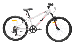 Pedal Crush 24 Boys Mountain Bike Silver/Red