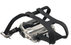 Azur Alloy Pedal with Toeclip & Strap Set Silver