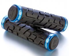 Jet Black Rivet Lock On Grips [w/Rings] (Black.Cyan) | 99 Bikes