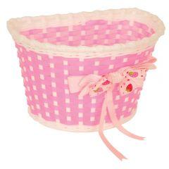Kids Front Basket w/Bow (Pink/White) | 99 Bikes
