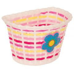 Front Basket, Kids, White with Pink Strip and Large Flowers