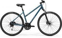 Merida Crossway 100 Women's Hybrid Bike Teal Blue/Silver Blue/Lime (2021)
