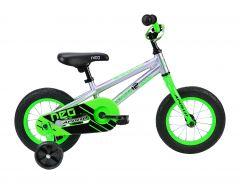 Bike18 NEO Boys 12 Brushed Alloy Neon Green Blk