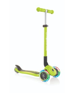 Scooter 3 Wheel Kids Globber Primo Foldable Lights Lime Green