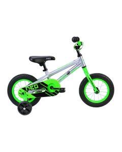 NE12 Kids Bike Brushed Alloy Neon Green/Black