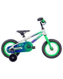 Neo Kids Bike 12 Silver with Neon Green Navy Fade (2021)