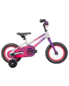 Neo Kids Bike 12 Silver with Purple Pink Fade (2021)