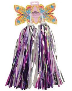 Handlebar Streamers Silver Purple Sequins