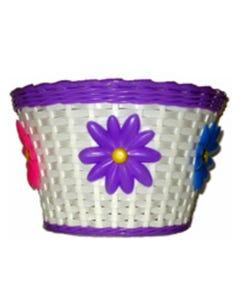 Front Flower Basket 12-16inch Bikes White/Purple