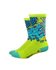 "Defeet Aireator 6"" Cycling Socks Hi Viz Shazam"