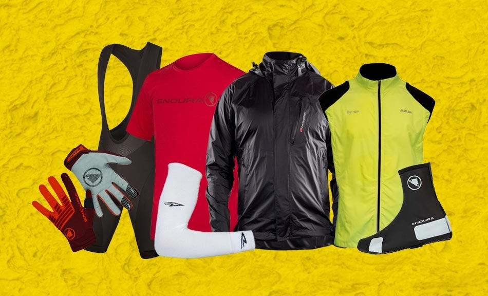 Winter jacket, gloves, arm warmers, gloves