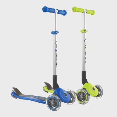 Globber Primo Foldable Navy Blue & Lime Green Scooters