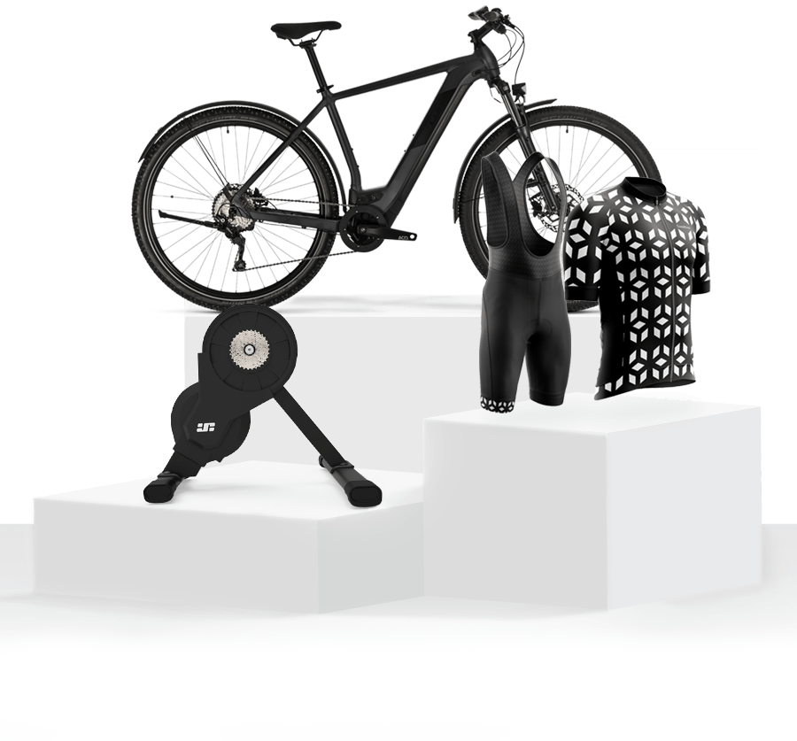 Pedestal of products - Cube Cross e-Hybrid Bike, JetBlack Trainer, Hamax Baby Seats
